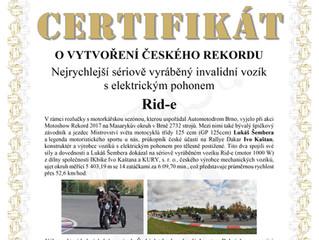 Rekord Masarykova okruhu na vozíku Rid-e