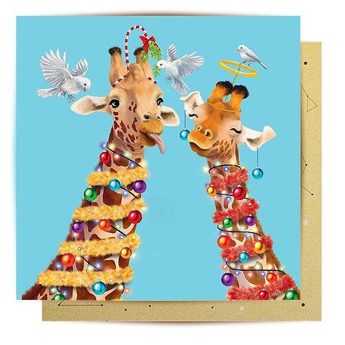 Greeting Card Christmas Giraffes