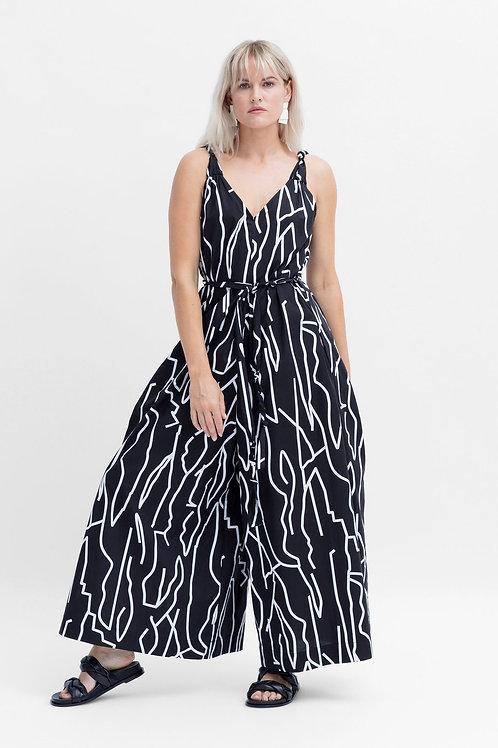 ELK Malte Organic Jumpsuit - Black/White Kinetic Print
