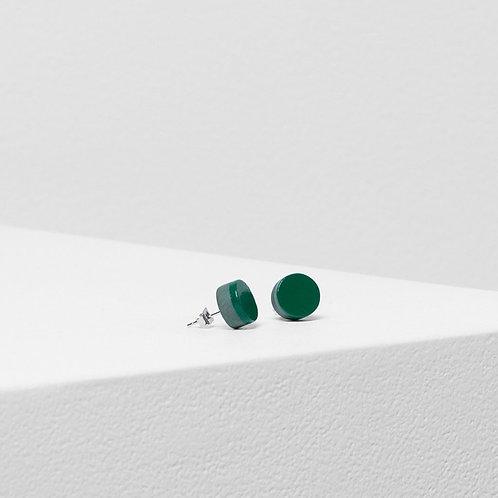 Reine Disc Stud - Bright Green/Chalk