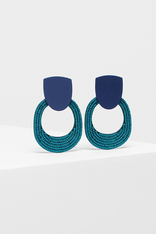 ELK - Seed Bead Double Shape Earring - Navy/Green