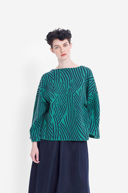 Fraja Sweater - Cactus/Navy