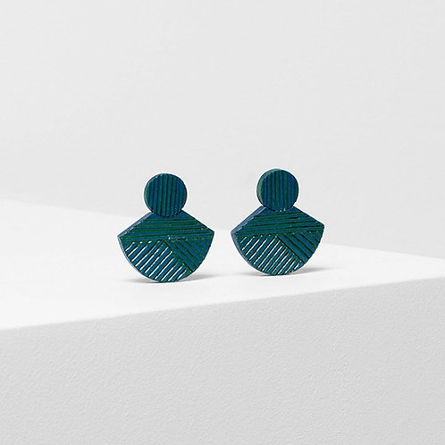 Elva Earring - Green/Chambray