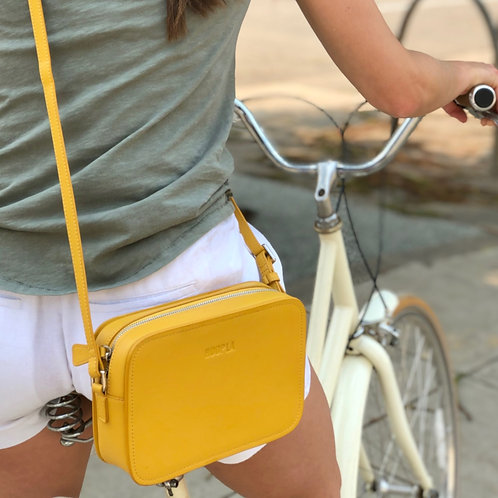 Hoopla Cross Body Box Bag - Mustard