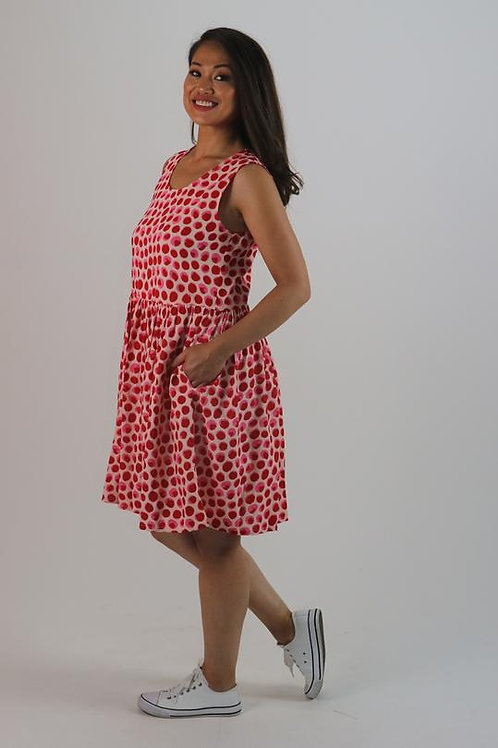 Sleeveless Dress - Red/Pink Spot