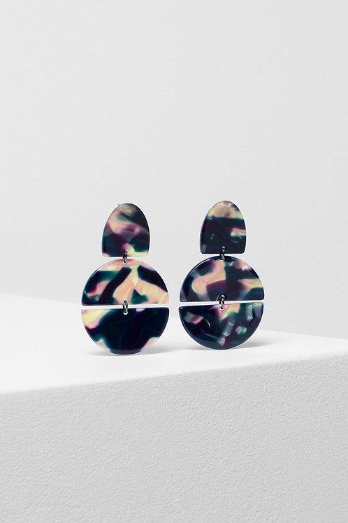 Hilma Rounded Earrings - Navy Swirl