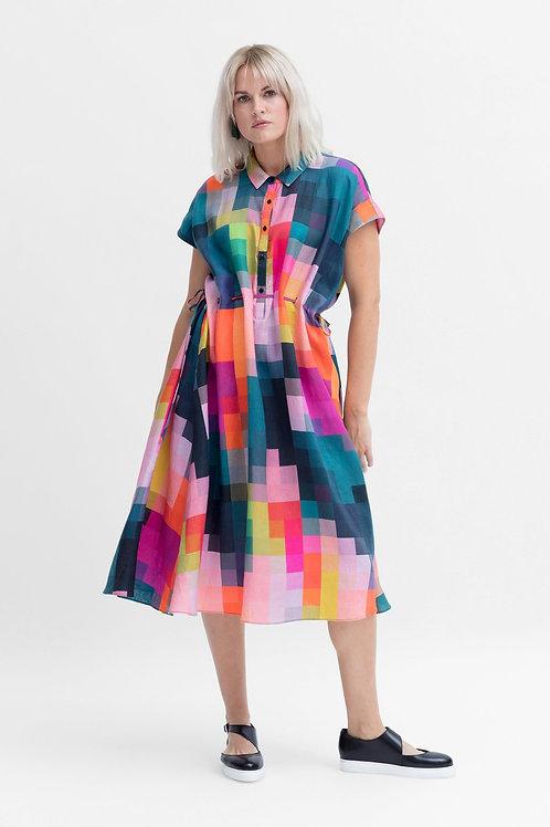 ELK - Falme Linen Shirt Dress - Pixel Print