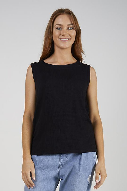 Button Back Tank - Black