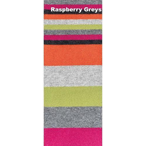 No.1 Lambswool Scarf - Raspberry Greys