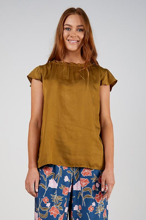 Gather Neck Top - Olive