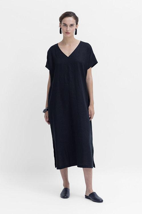Tora Linen Long Dress - Black