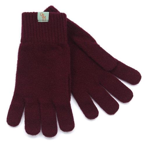 Unisex Lambswool Gloves - Bordeaux Maroon