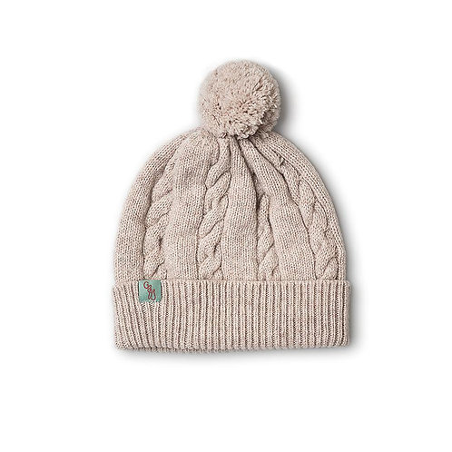 Cable Beanie - Light Beige Marle