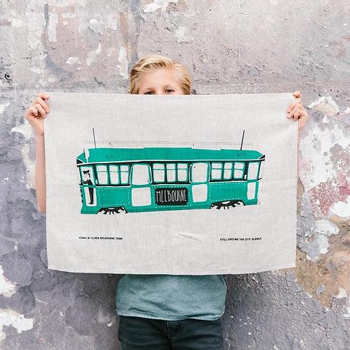 Iconic Tea Towel 100% Linen - Tram
