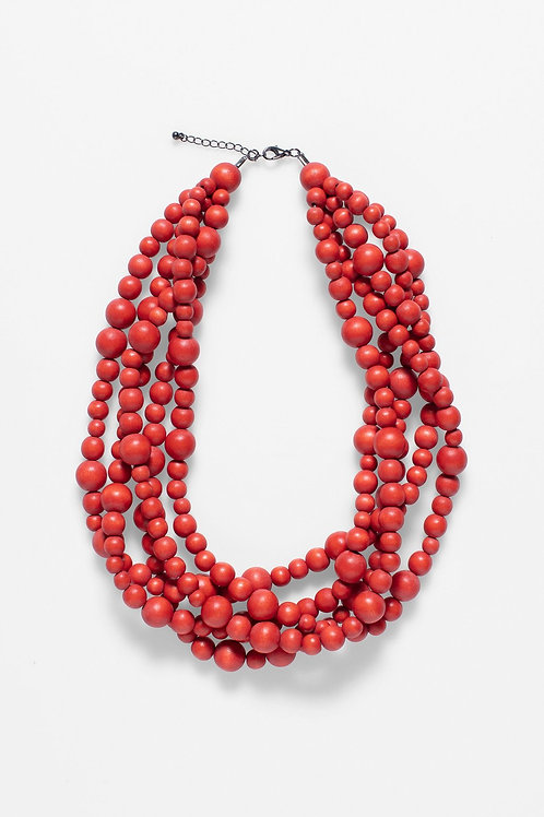 Aari Multi Strand Necklace - Red Clay