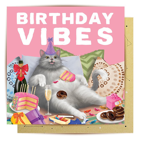 Greeting Card Birthday Vibes Cat