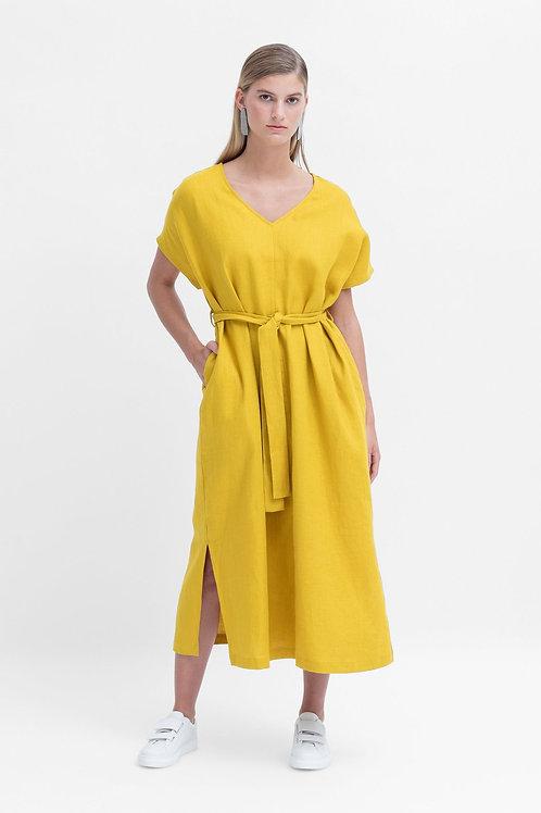 Tora Linen Long Dress - Saffron