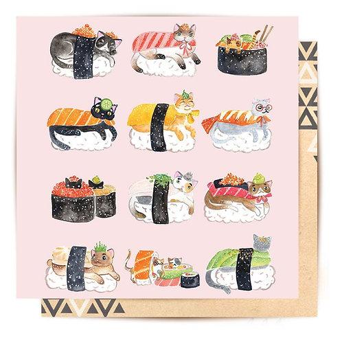 Greeting Card Sushi Cats
