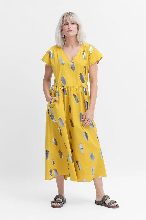 ELK THE LABEL - Ivar Long Dress - Lemon Metallic