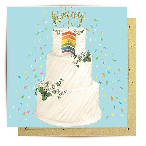 Greeting Card Hooray Wedding Cake