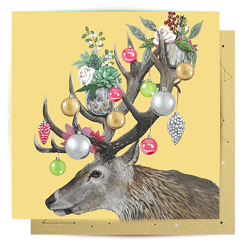 Greeting Card Christmas Deer Baubles