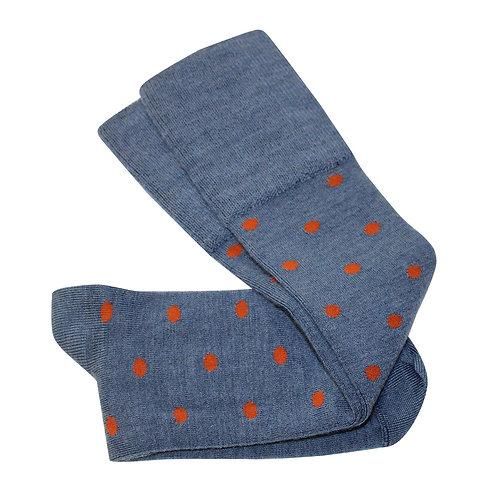 Dotty Long Socks - Blue/Rust