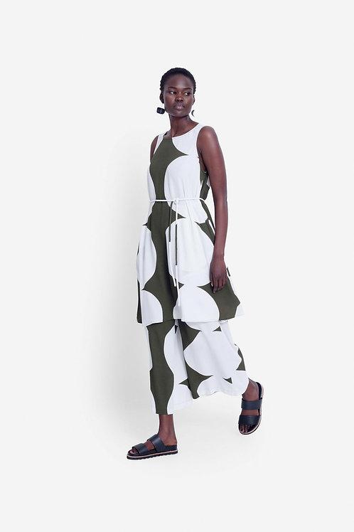 Kalla Tank Dress - Olive/White