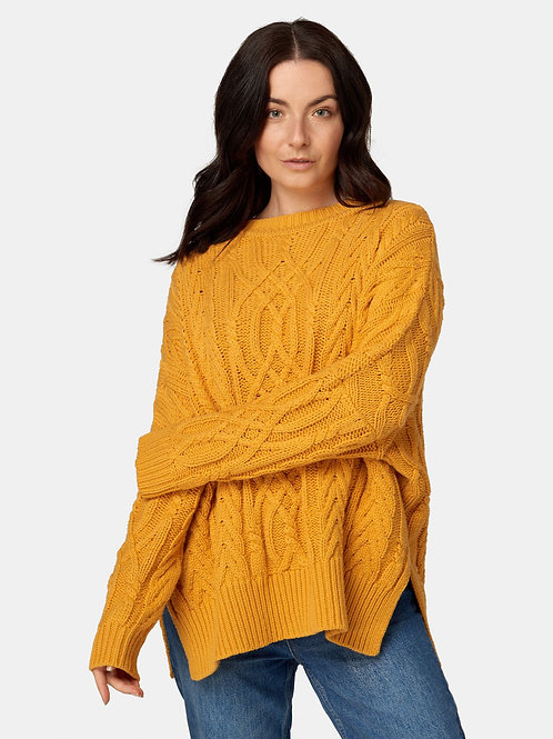 Soft Touch Cable Pullover - Saffron