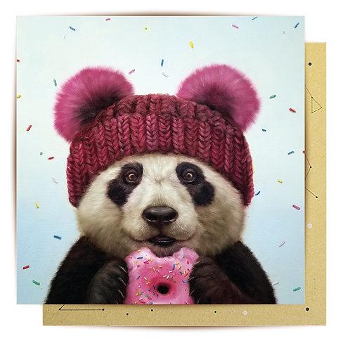 Greeting Card Donut Panda
