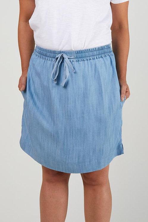 Scoop Hem Skirt - Chambray