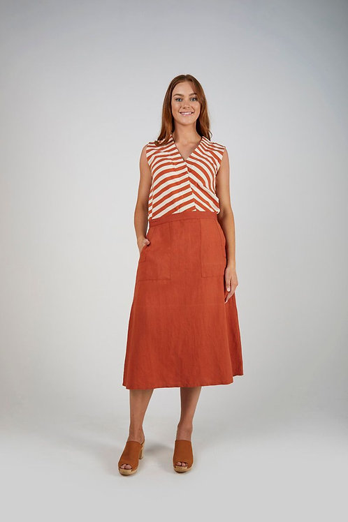 Patch Pocket Midi Skirt - Rust