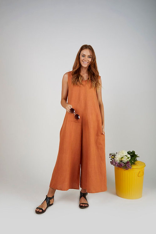 Relaxed Fit Jumpsuit - Rust