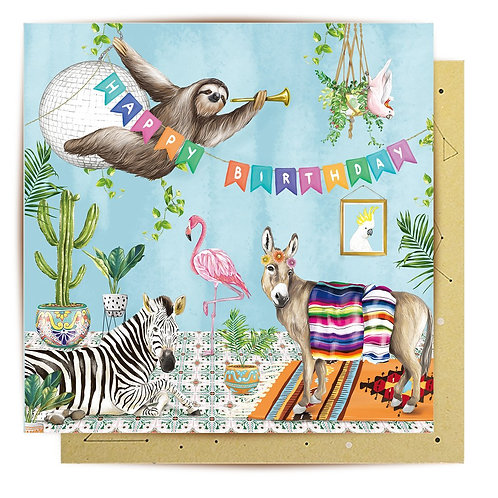 Greeting Card Tropical Abode Sloth