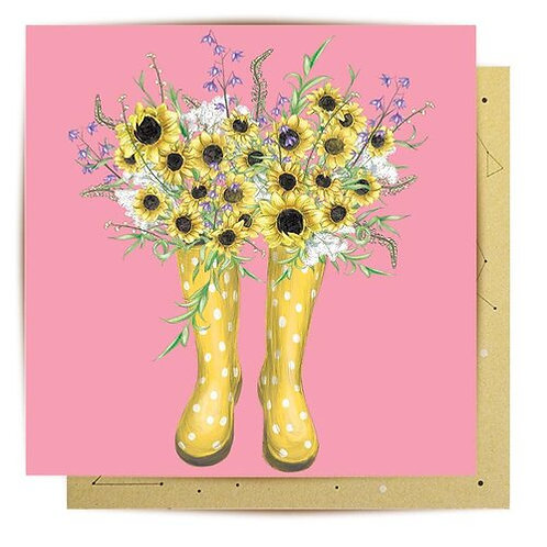 Greeting Card Sunflower Boots