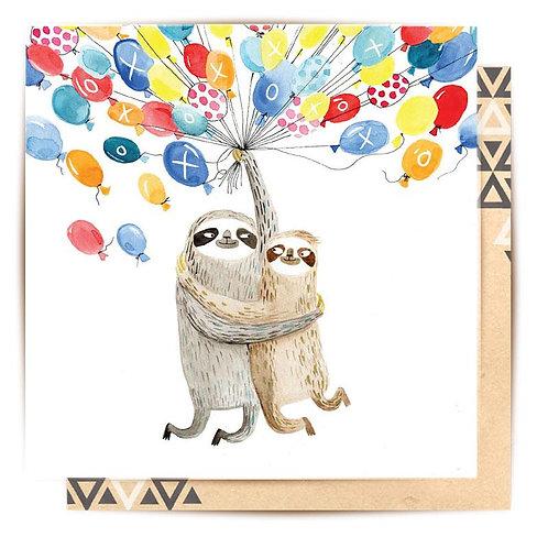 Greeting Card Sloth Balloons