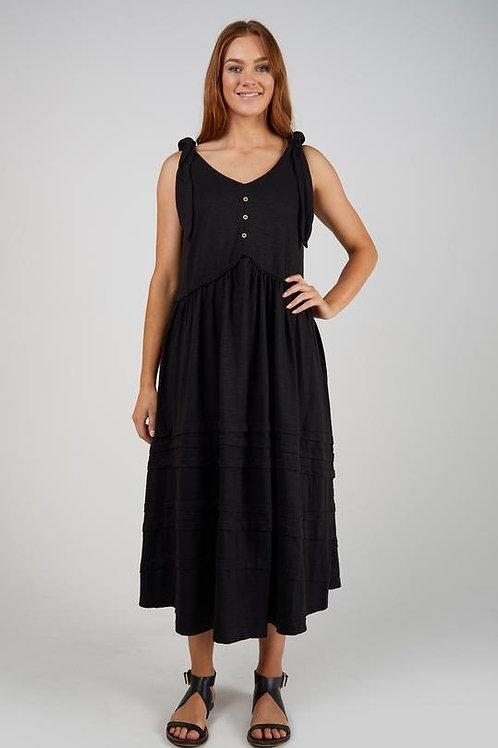 Tie Shoulder Dress - Black