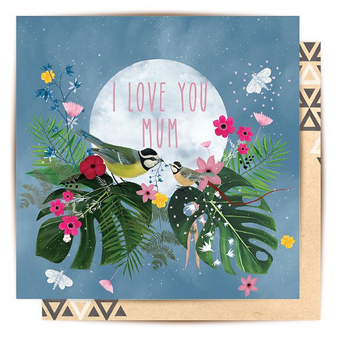 Greeting Card Tropical Birds I Love You Mum
