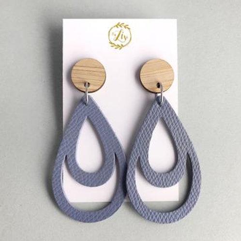 Storm Blue Faux Leather Earrings