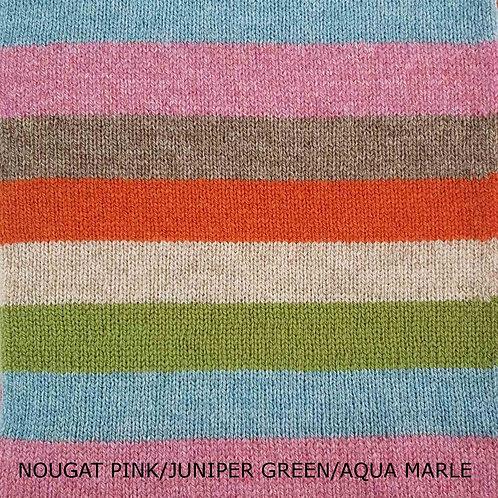 Stripe It Up Lambswool Scarf - Nougat Pink