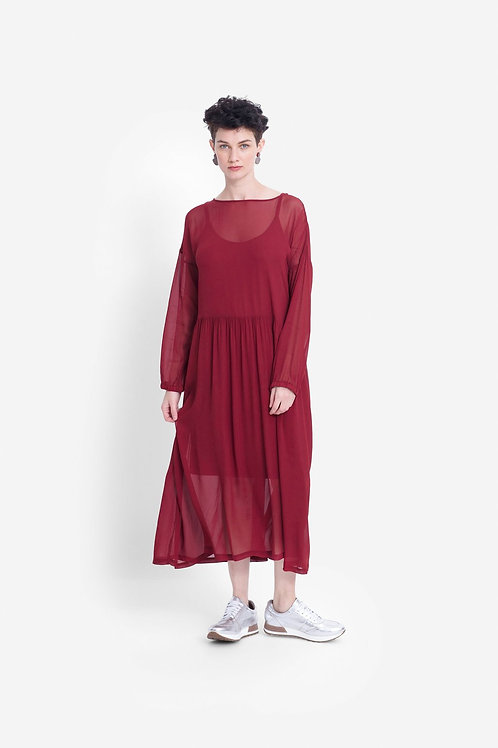 Catja Sheer Dress - Red Rust