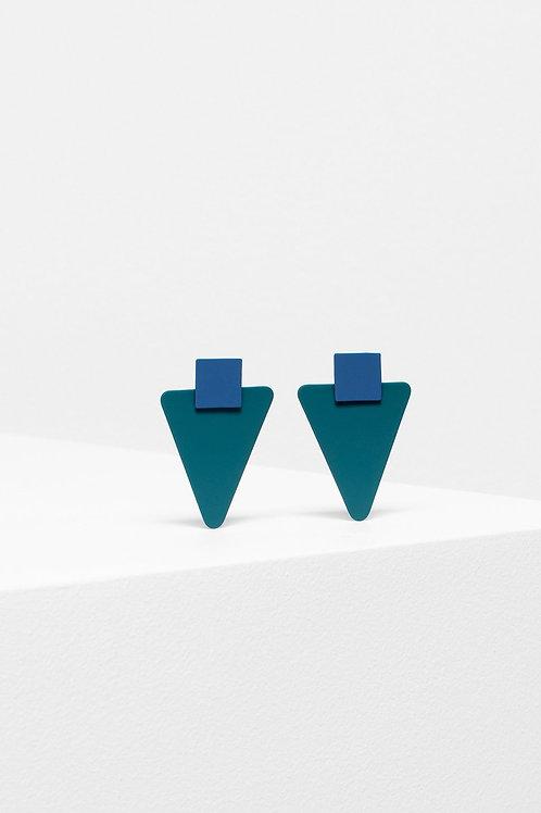 ELK - Kolmio Drop Earring - Green/Light Blue