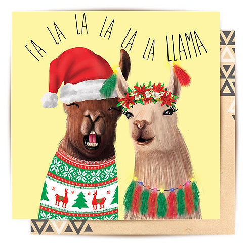 Greeting Card Christmas Llama Couple