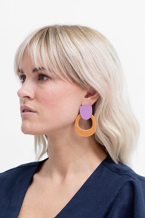 ELK - Seed Bead Double Shape Earring - Orange/Pink