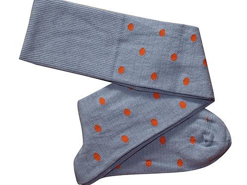Dots Cotton Long Socks - Slate/Rust