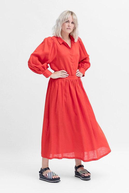 ELK THE LABEL - Tia Linen Skirt - Tangerine