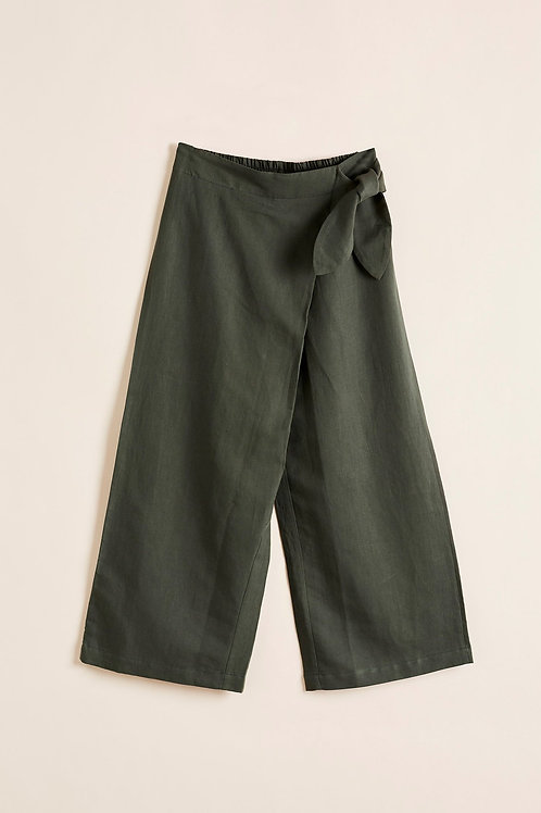 Poppy Wrap Pants - Khaki