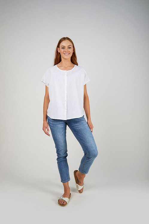 Button Through Shell Top - White