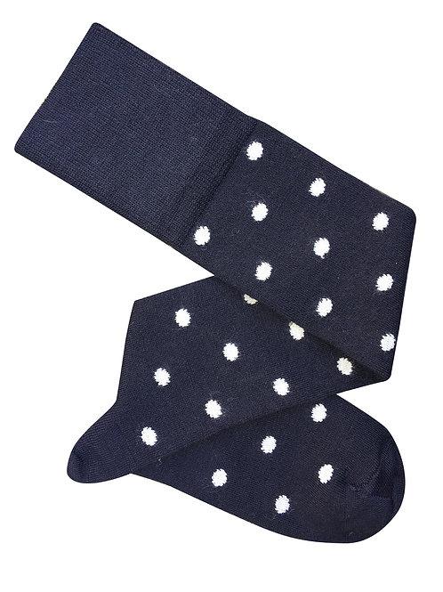 Dotty Long Socks - Midnight/White
