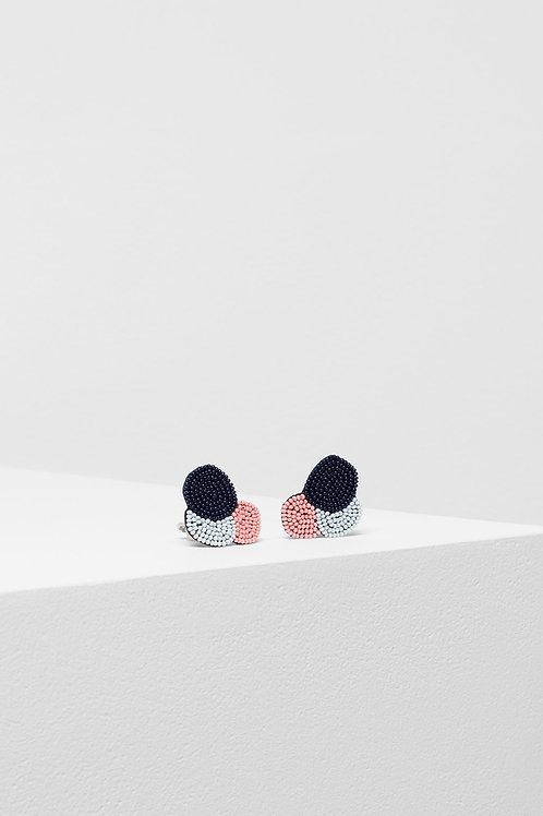 Ettie Clip On Earring - Navy/Roccoco/Light Grey
