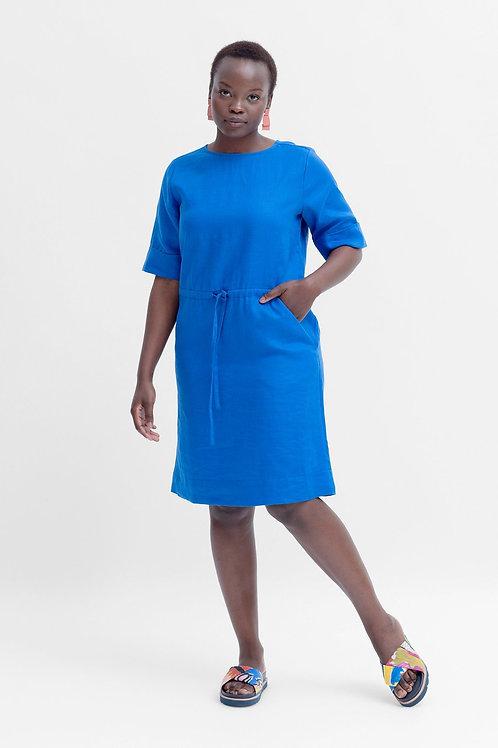 Tora Linen Short Dress - Electric Blue
